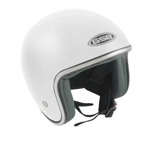 GSB G-234 Adult Open Face Motorcycle Helmet Plain White Gloss