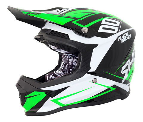 Shot Furious Alert Full Face Motocross Helmet Green White Black ACU Approved