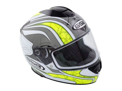 GSB G-350 Full Face Motorcycle Helmet Grey Yellow Hi-Vis/Reflective