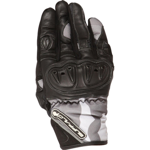 Buffalo Camo Mens Motorcycle Glove : Leather / Textile