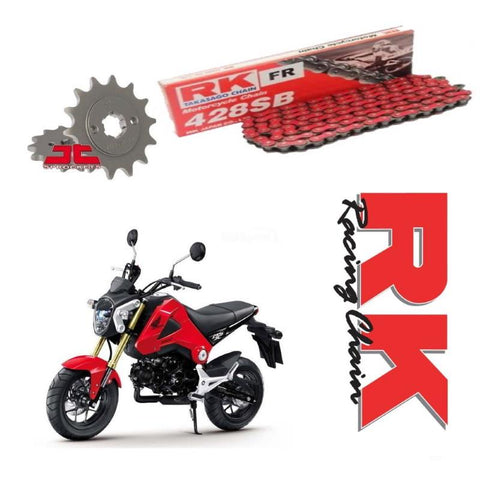 Honda MSX125 RK Racing Red Chain and Sprocket Kit 428 UPGRADE