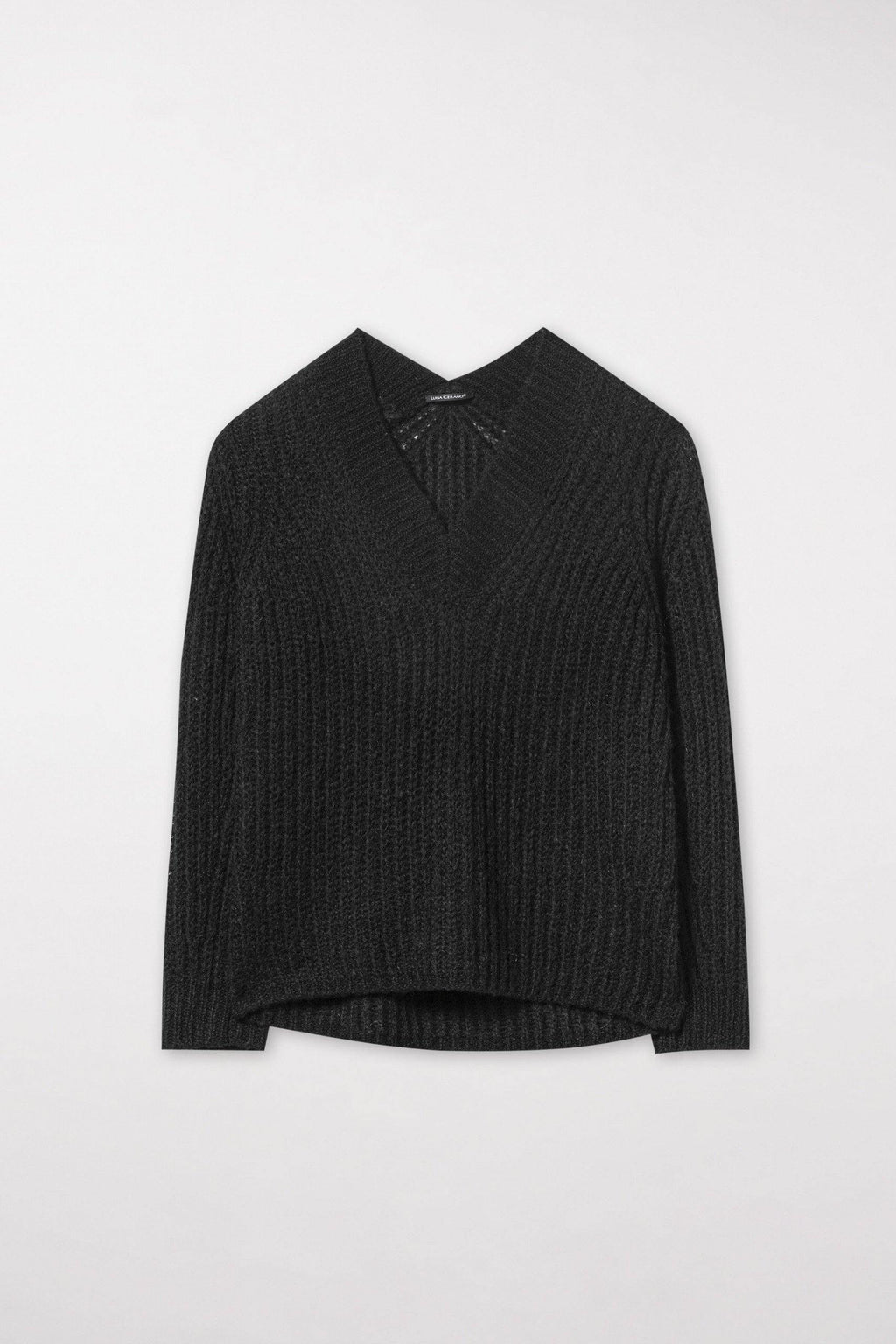 Pull noir col V - Lysa Couture