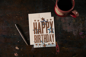 Stars Block Birthday Card
