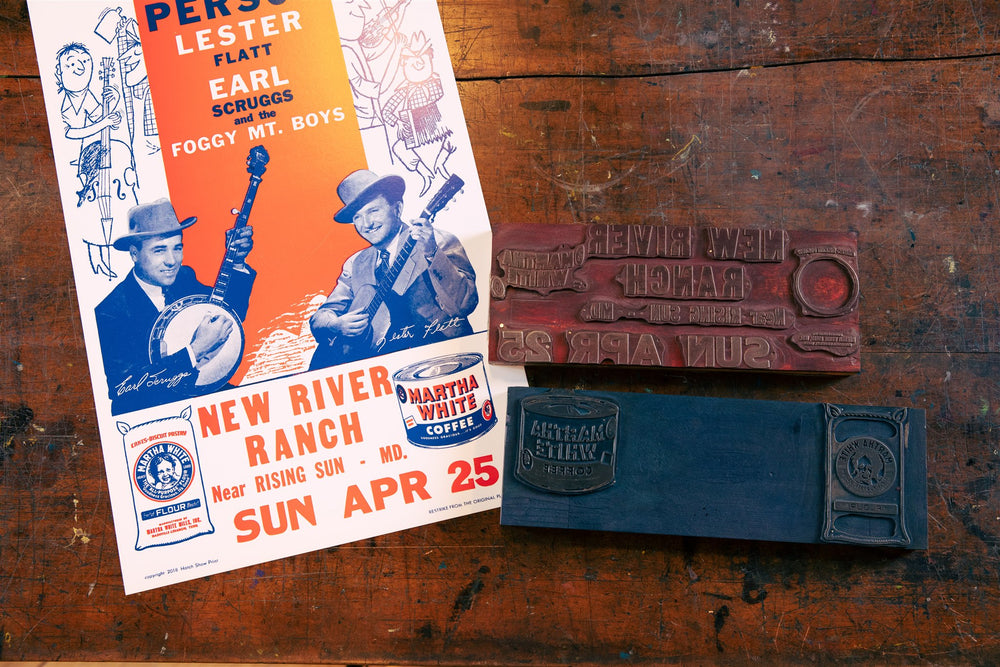 Flatt & Scruggs Red/Blue New River Ranch Poster