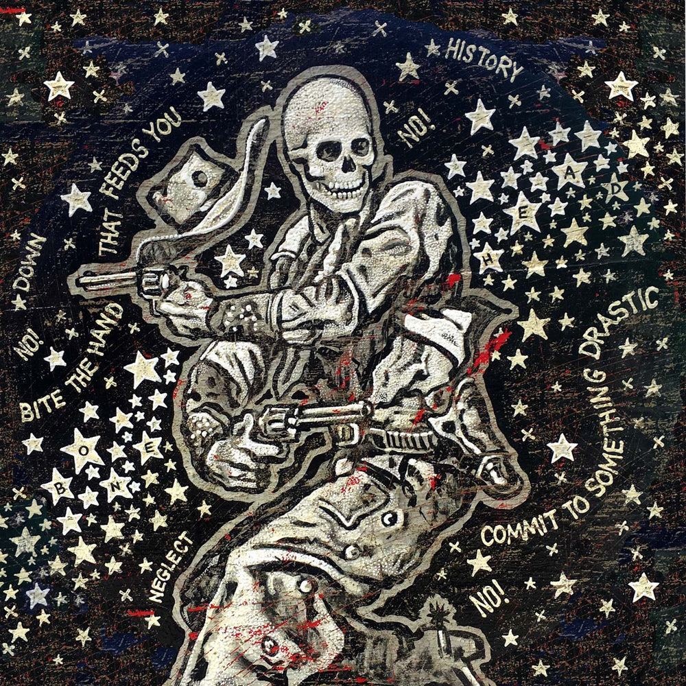 Jon Langford - Bonehead Going Down in History Print