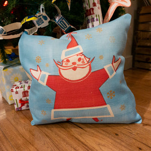 Load image into Gallery viewer, Blue Santa Pillow