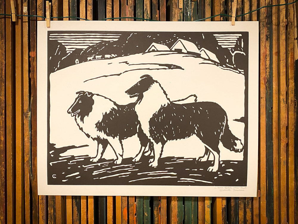 Barnyard Collies Print