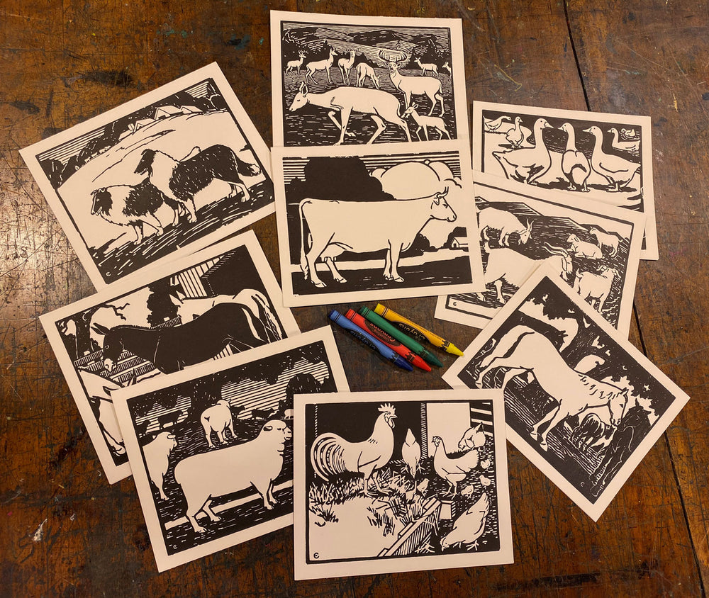 Barnyard Animal Coloring Cards