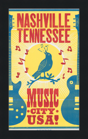 Framed Bluebird Music City Poster