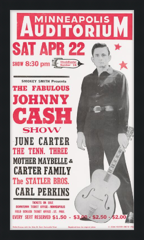 Framed Johnny Cash Show Poster