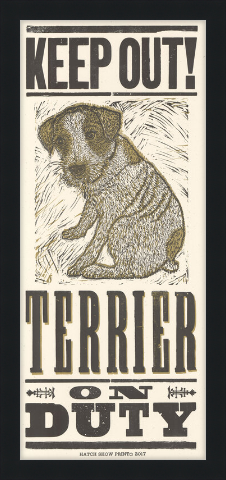 Framed Terrier on Duty Poster