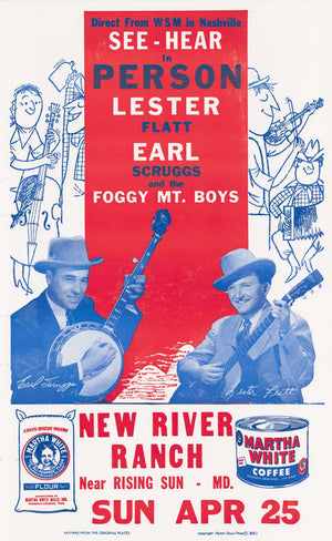 Load image into Gallery viewer, Flatt & Scruggs Red/Blue New River Ranch Poster