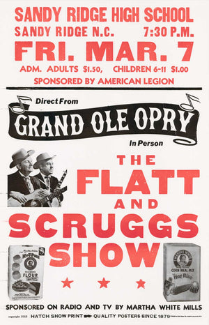 Flatt & Scruggs Red/Black Sandy Ridge High Poster