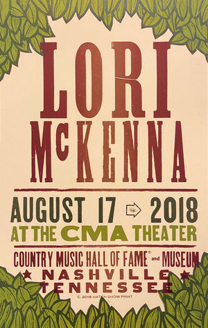 Load image into Gallery viewer, Lori McKenna Concert Poster 8/17/18