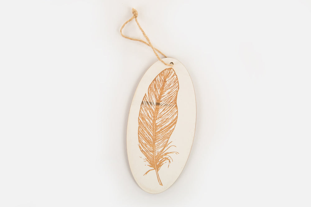 Feather Wood Ornament