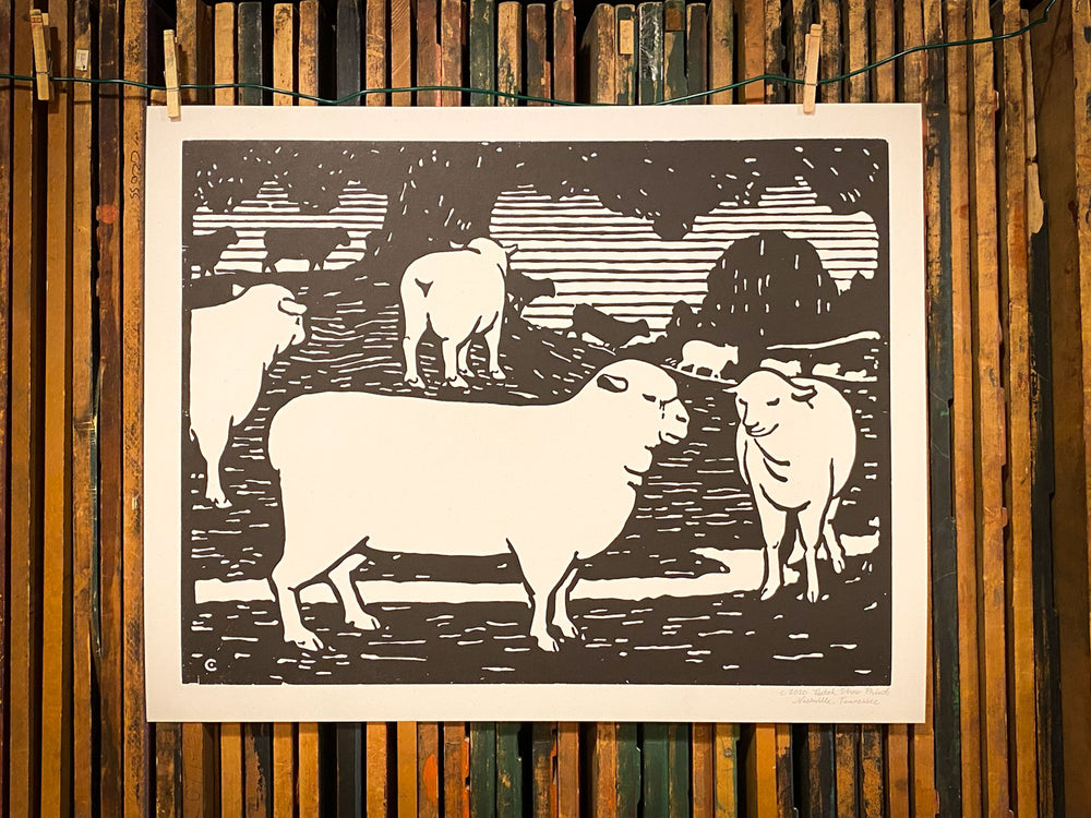Barnyard Sheep Print