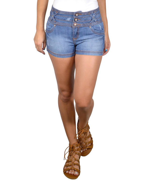 High Waist Three Button Fastening Shorts