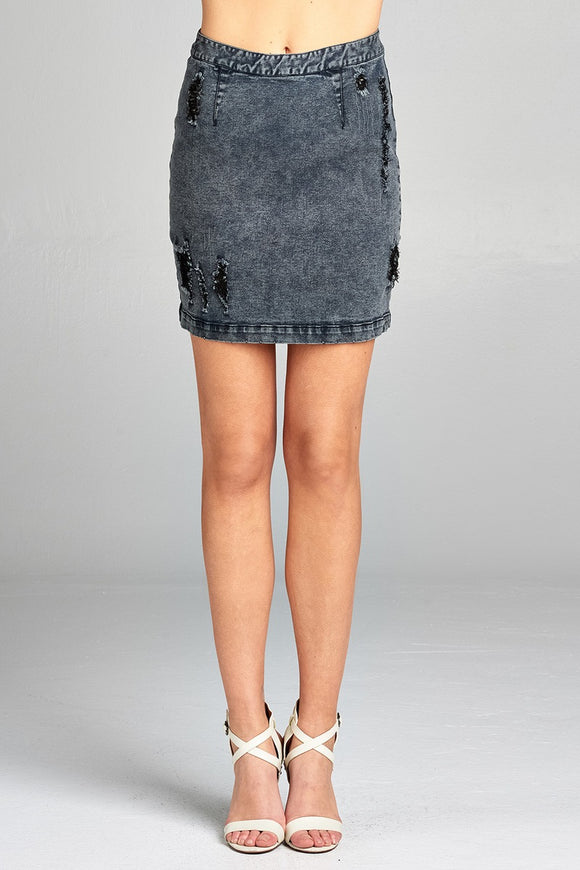 Ladies fashion distressed denim mini skirt w/back zipper