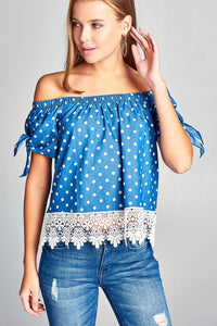 Ladies fashion short sleeve w/ribbon tie dot print off the shoulder bottom crochet lace chambray top