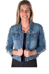 Ladies fashion distress denim jacket