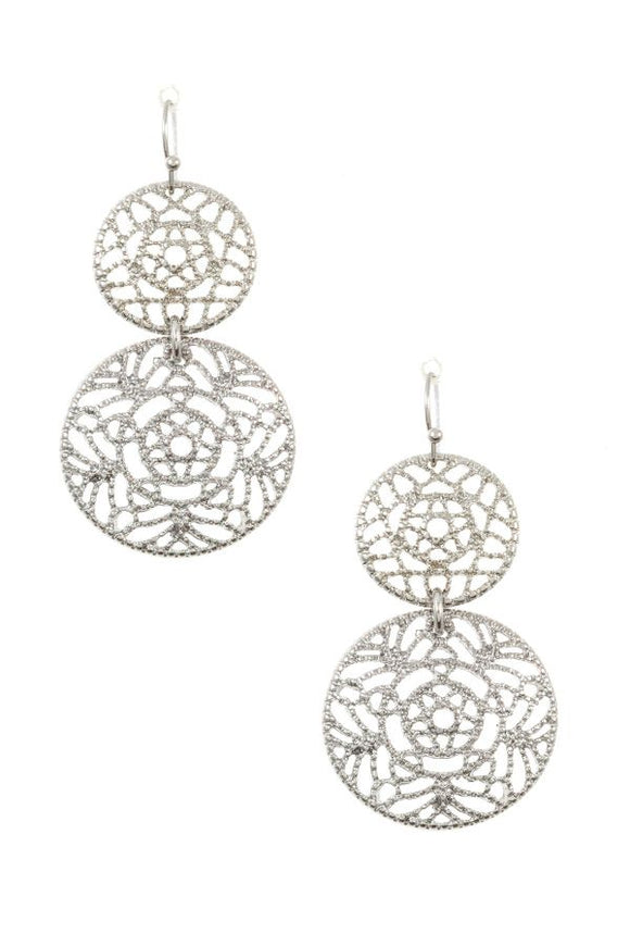 Double round filigree drop earring