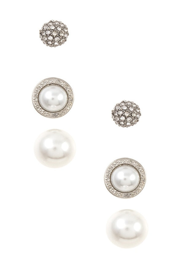 3 piece pearl frame post earring