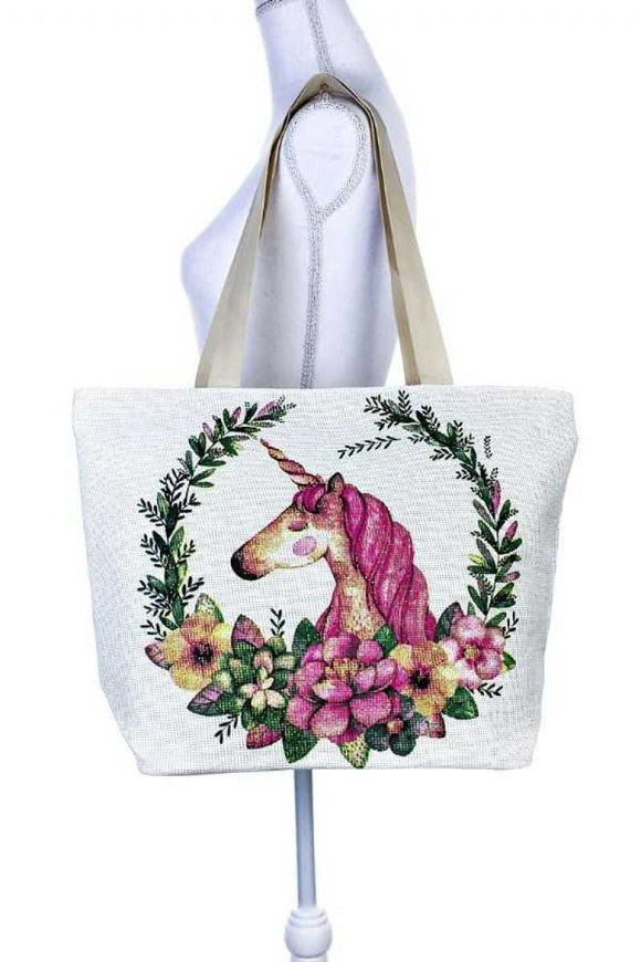Unicorn floral wreath tote bag