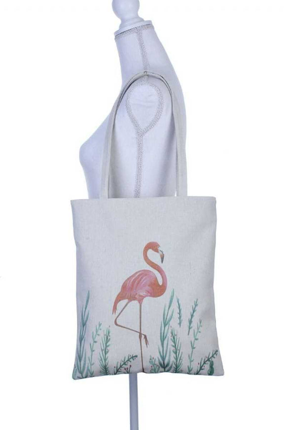 Flamingo pose print tote bag