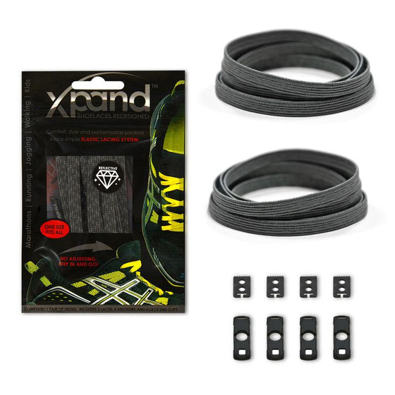 Xpand Grey Reflective Laces One Size Fits All, Laces, senditgear - Sendit Gear Canada