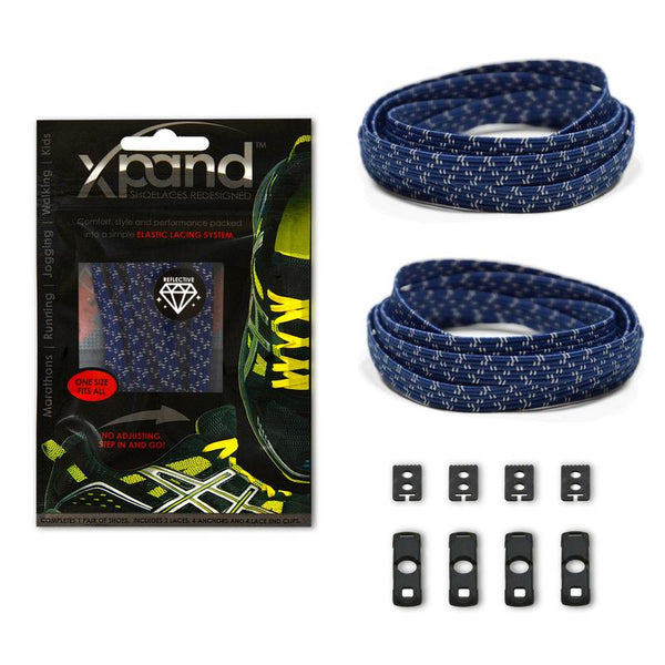 Xpand Navy Blue Reflective Laces One Size Fits All, Laces, senditgear - Sendit Gear Canada