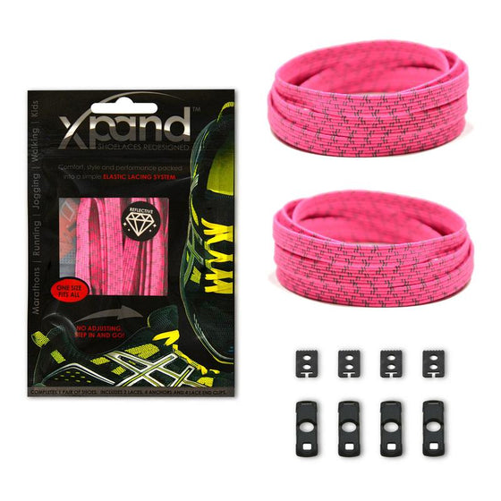 Xpand Neon Pink Reflective Shoelaces - No Tie Shoelaces