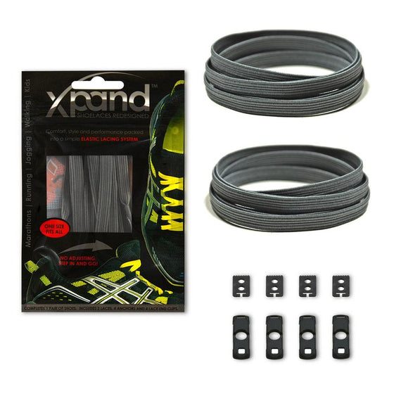 Xpand Grey Shoelaces - No Tie Shoelaces - Sendit Gear Canada