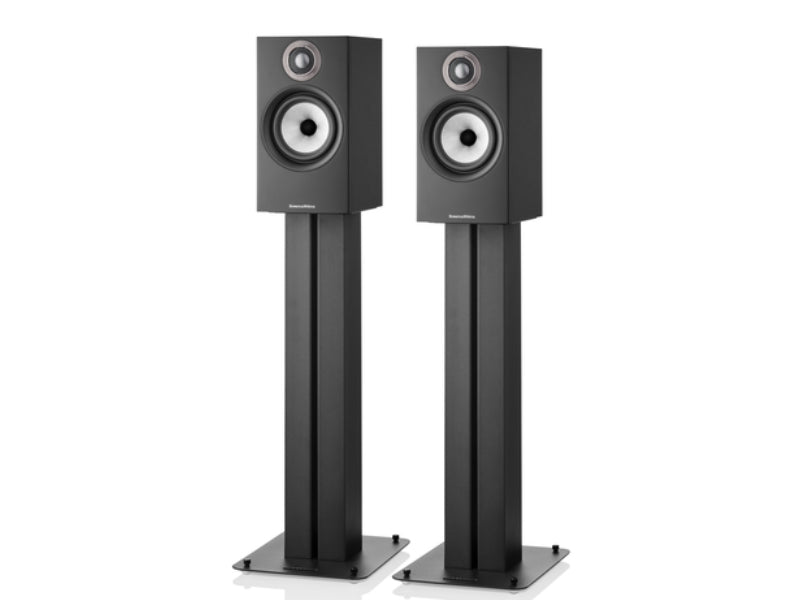 B&W 607 S2 Anniversary Edition Speakers Black on Stands