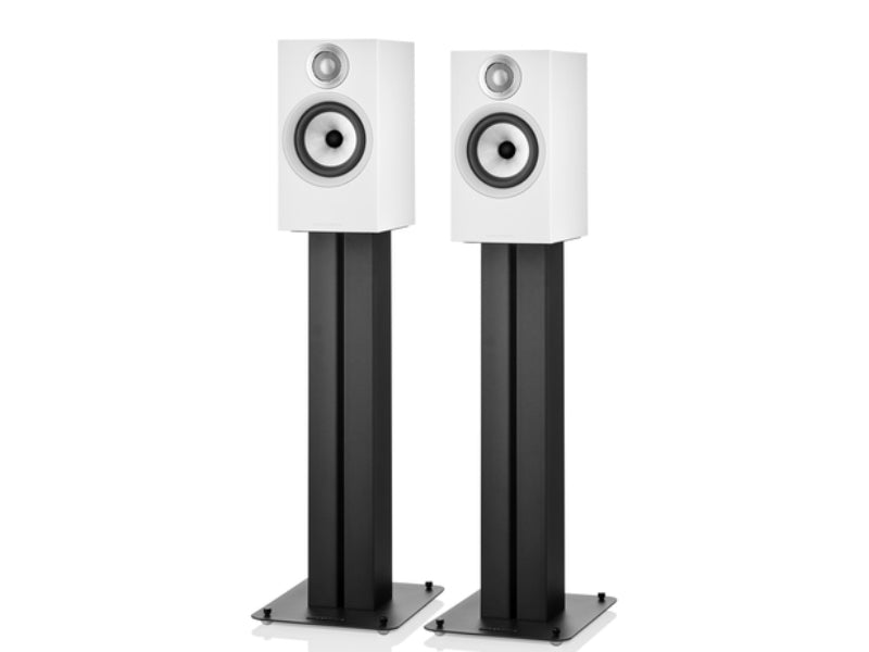 B&W 607 S2 Anniversary Edition White Speakers on Stands
