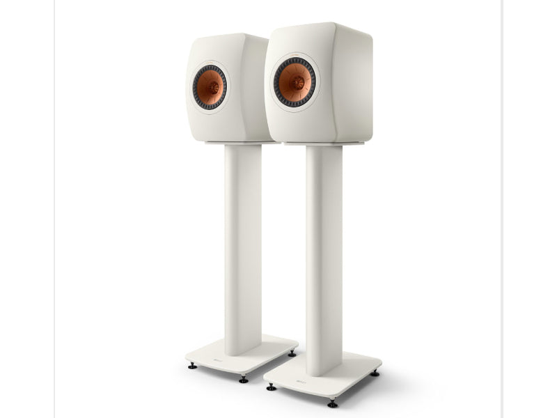 Kef LS50 Metta on S2 Floor Stand Mineral White