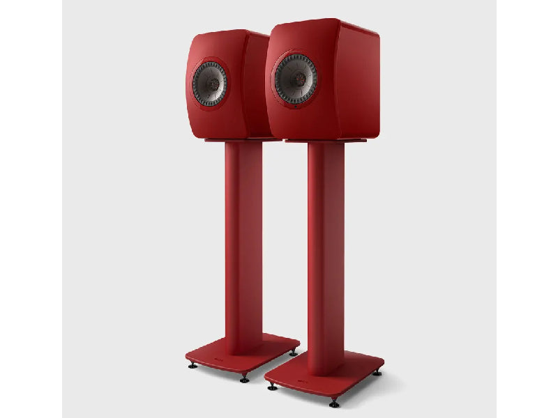 Kef LS50 Metta on S2 Floor Stand Crimson Red