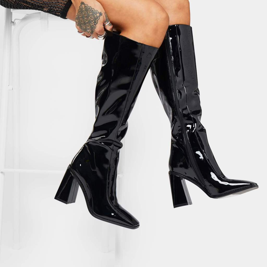 Shine bright in these patent boots