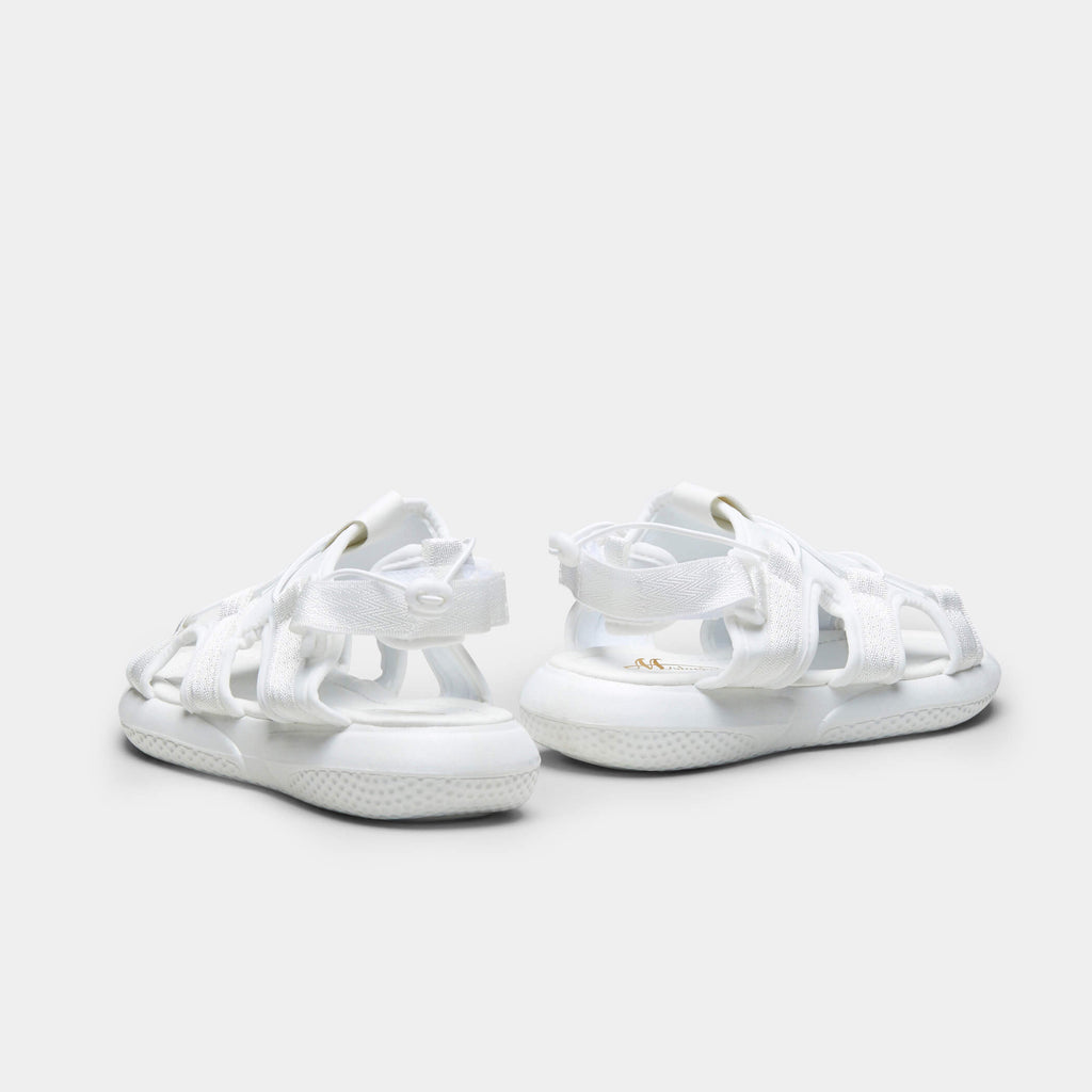 White MIDNA Textile Flat Sandals 3 view 3