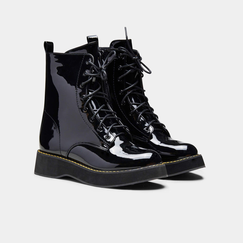 Black MIZU Patent Lace up Boots 1 view main view