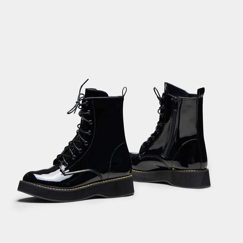 Black MIZU Patent Lace up Boots 2 view 2
