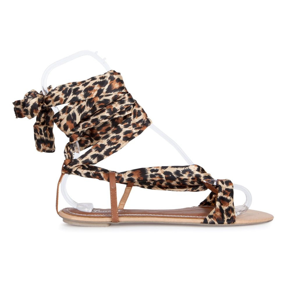 Leopard Print Wrap Sandals view main view