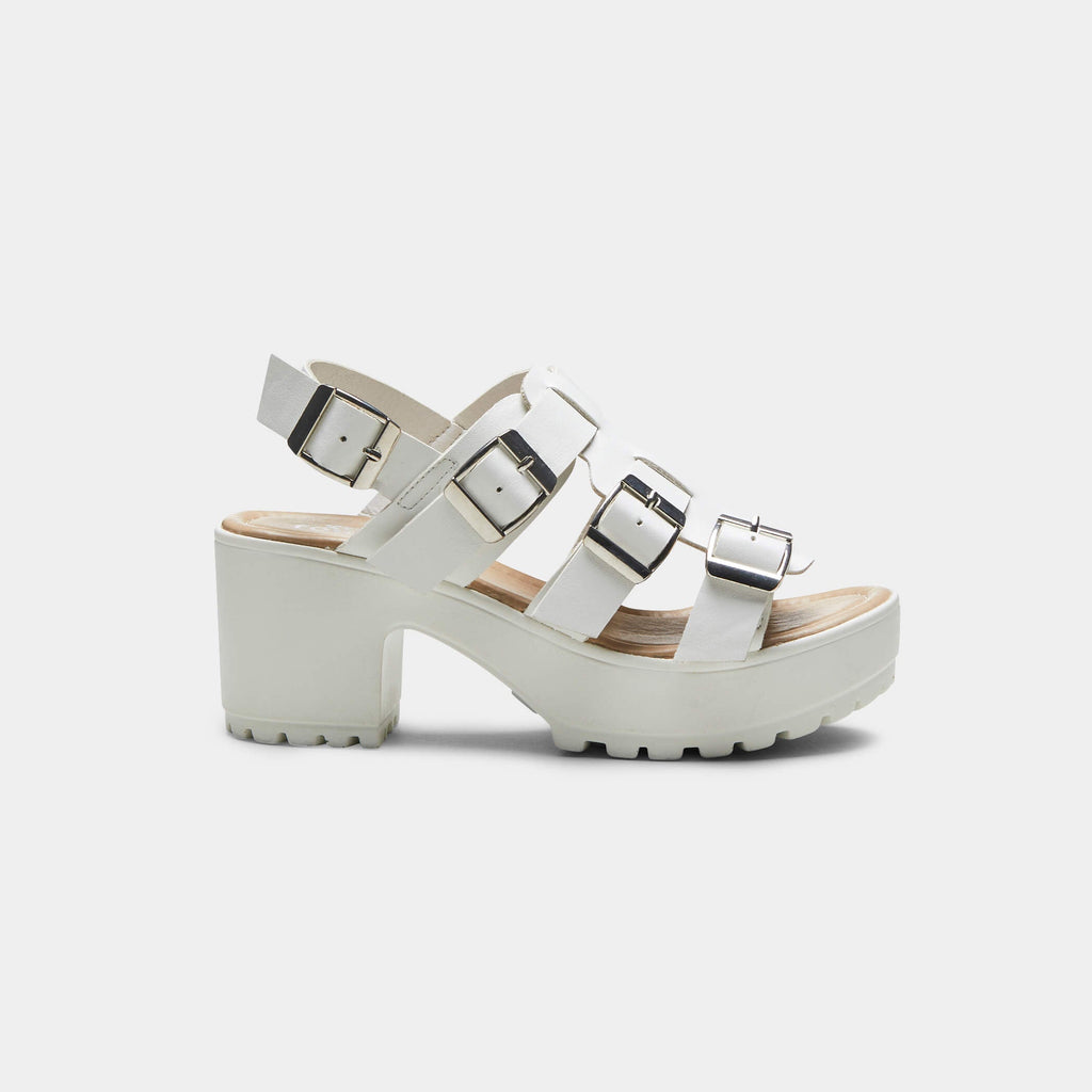 White HIDA Triple Buckle Chunky Sandals 2 view 2
