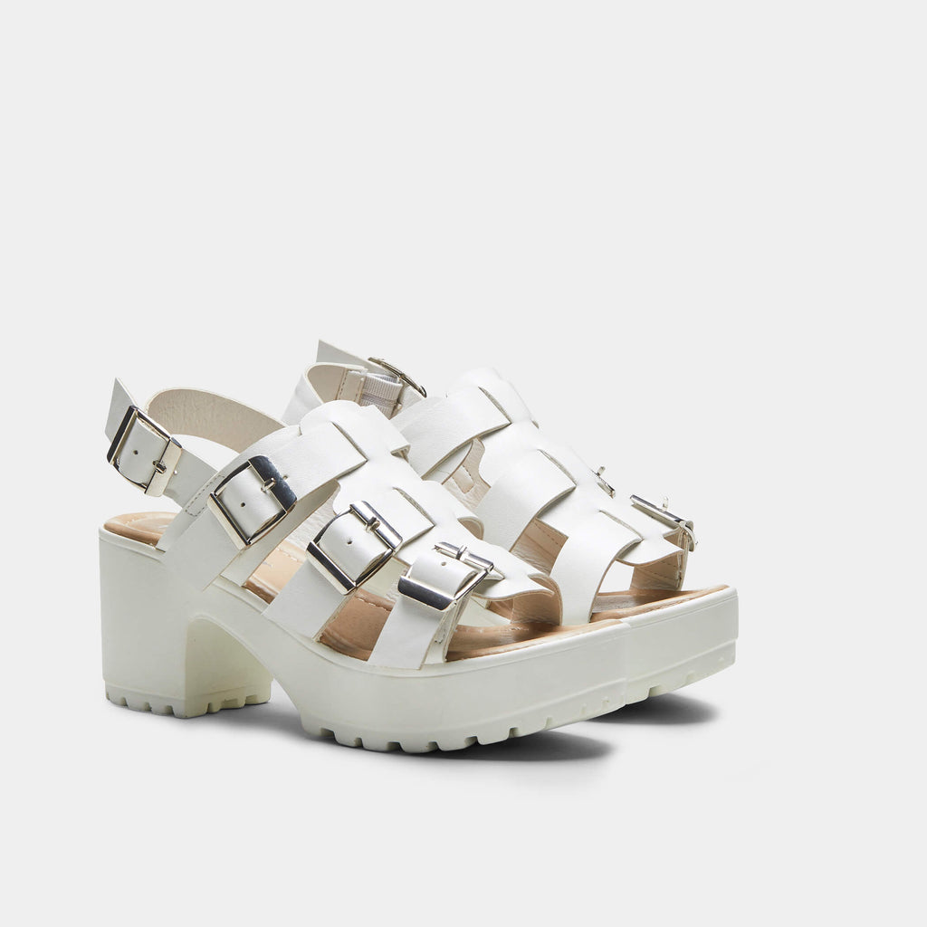 White HIDA Triple Buckle Chunky Sandals 3 view 3