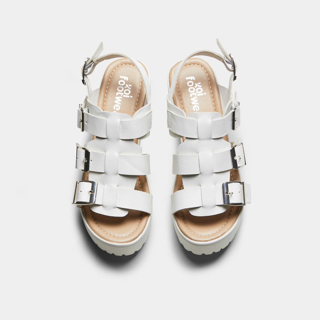 White HIDA Triple Buckle Chunky Sandals 1 view main view