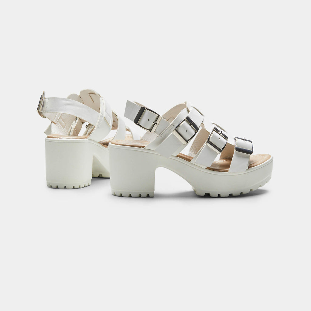White HIDA Triple Buckle Chunky Sandals 4 view 4