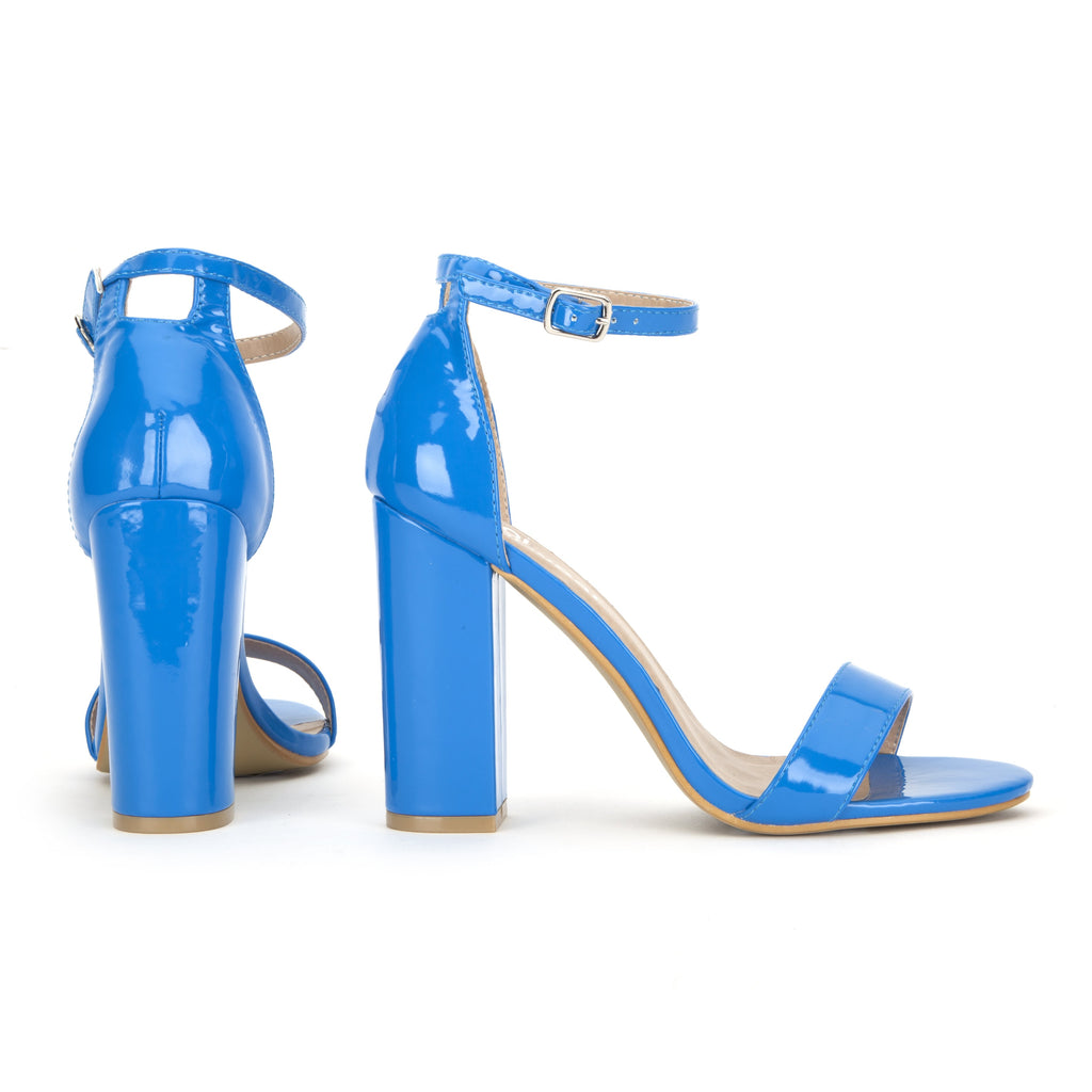 Electric Blue Patent Heels with Chunky Block Heel and Ankle Strap ...