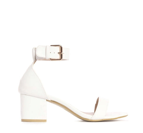 Low Block Heel Buckle Sandal in White