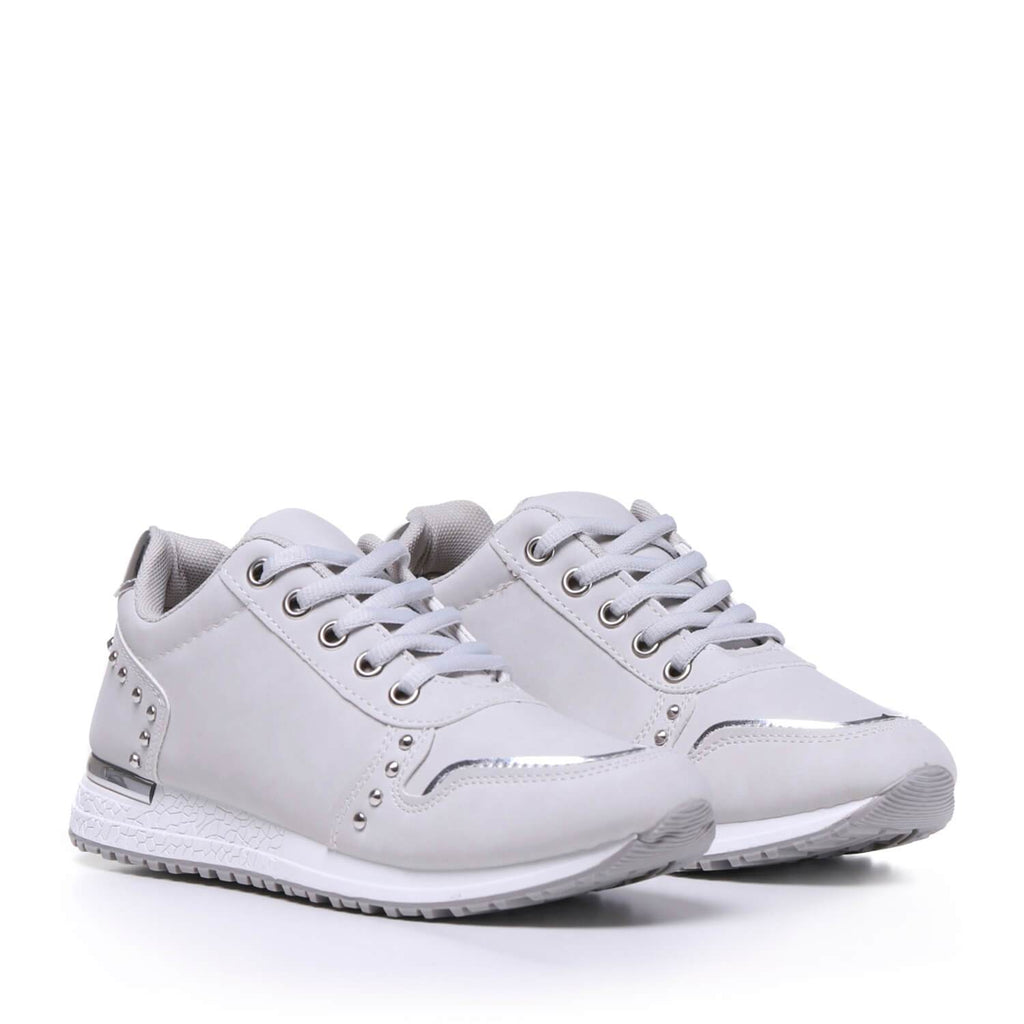 Grey Light Studded Sporty Trainers