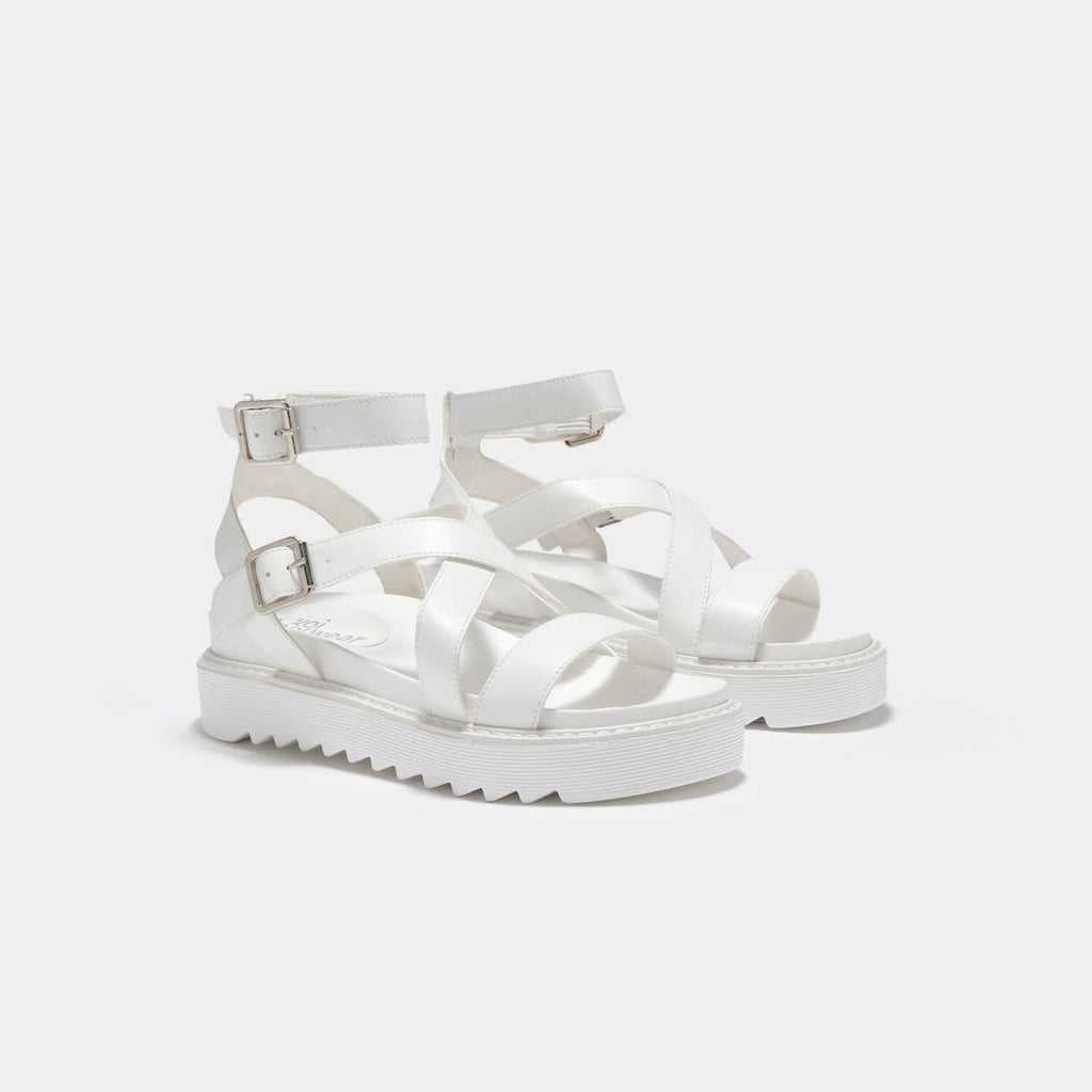 ZODY Footwear Ceres Gladiator White Sandals Vegan Strappy Sandals view 4