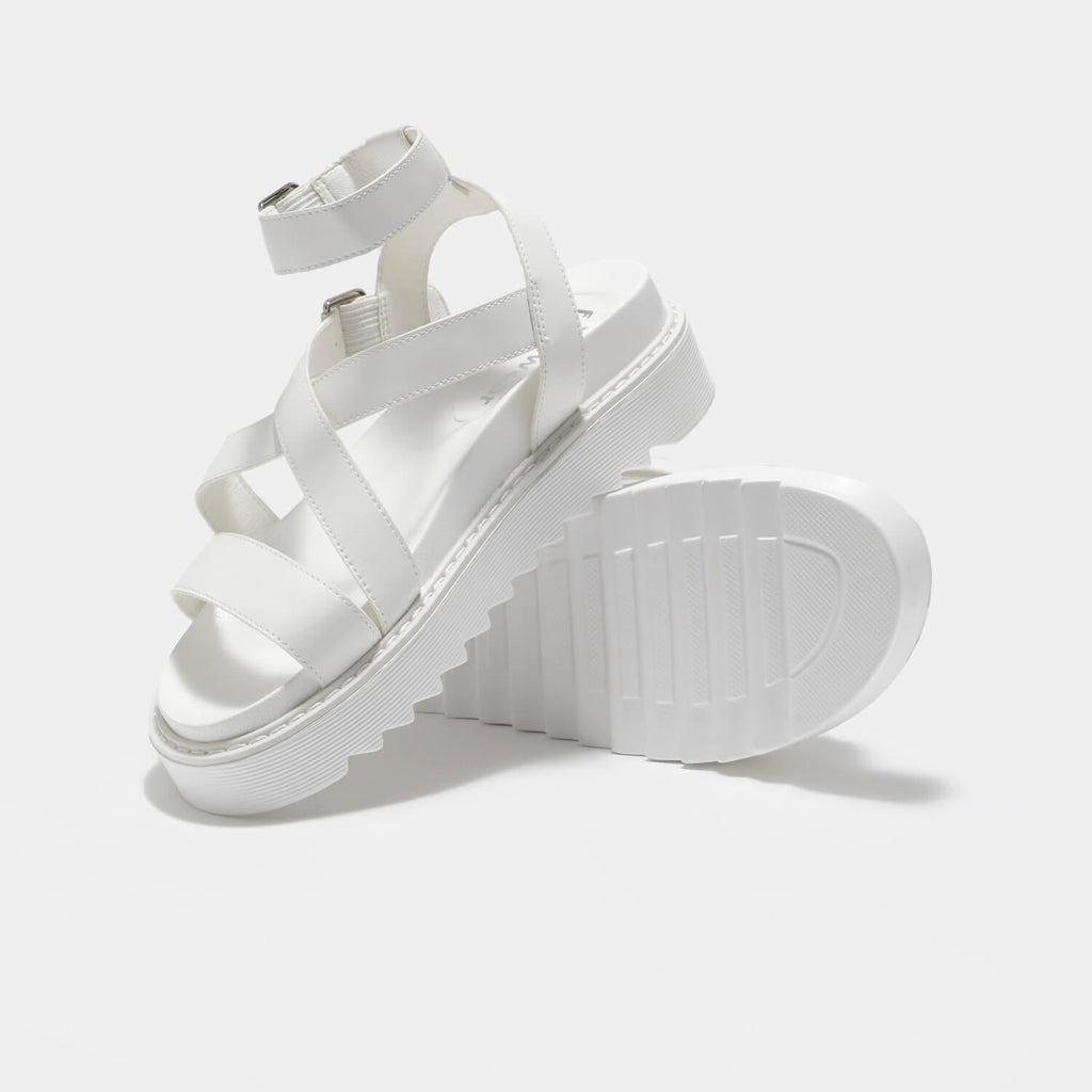 ZODY Footwear Ceres Gladiator White Sandals Vegan Strappy Sandals view 3